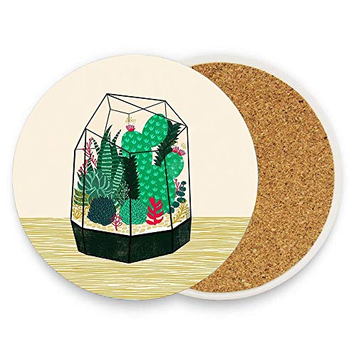 Puyrtdfs Terrarium - Geodesic Plant For Succulents And Cactus By Andrea Lauren Absorbent Ceramic Coaster Mat with Coaster for Mugs and Cups Mat Pack Of ()