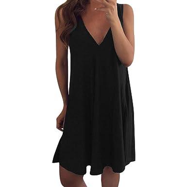 0d55fd275f0a0 HULKAY Tank Dress for Women丨Summer Sleeveless V Neck Casual Swing T-Shirt  Dresses