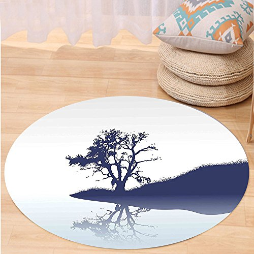 VROSELV Custom carpetNature Silhouette of Lonely Tree by Lake with Mirror Effects Melancholy Illustration for Bedroom Living Room Dorm Indigo Baby Blue Round 79 inches by VROSELV