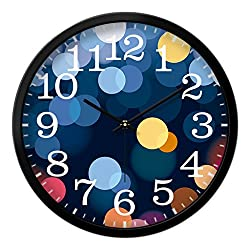 Nclon Circles Wall clock,Mute silent quiet Round Creative Quartz Long lasting brightness Texture 2mm Clear Glass Wall clock-black 30.5cm