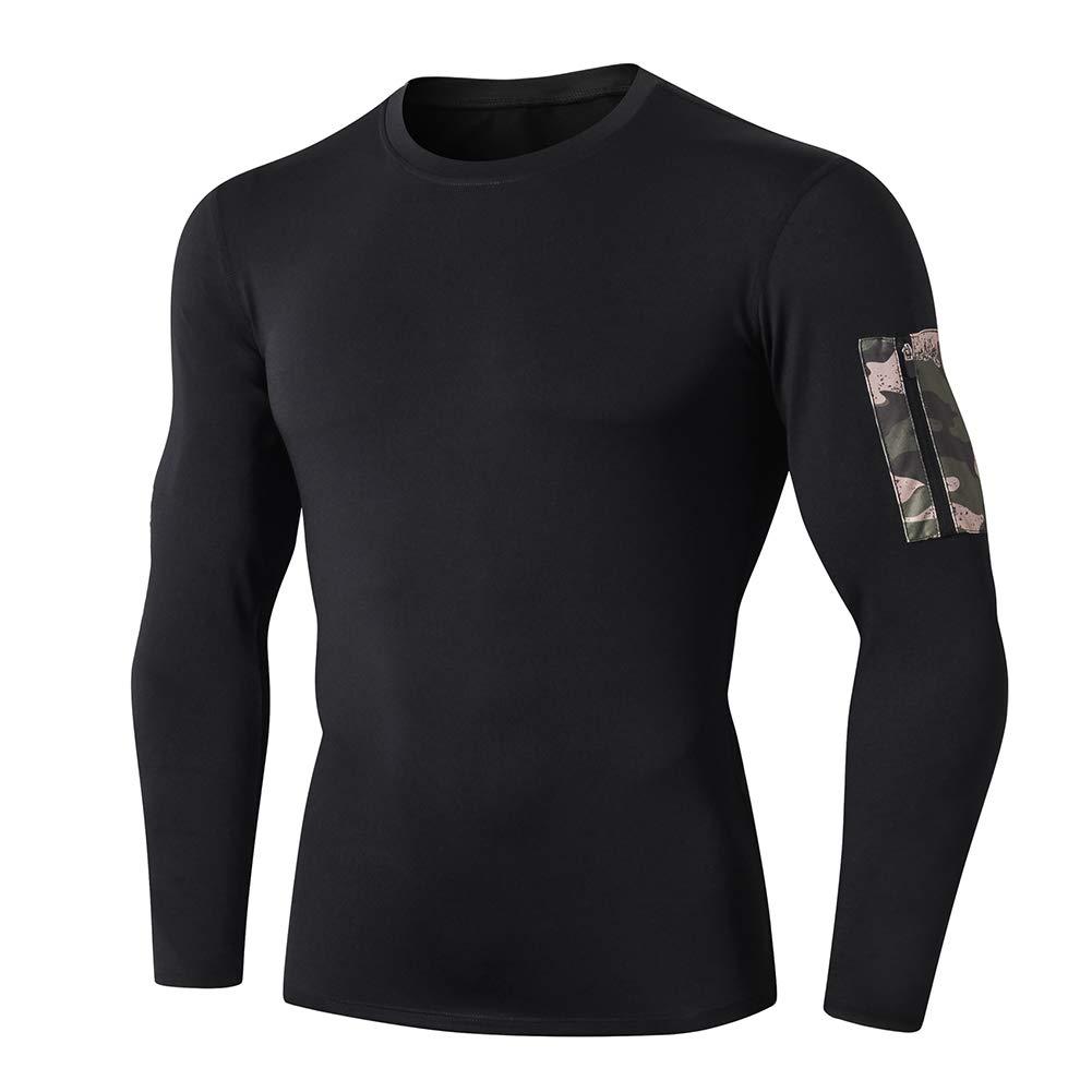 Shengwan Laufshirt Herren Langarm Sportshirt Fitness Sweatshirts mit Reißverschlusstasche