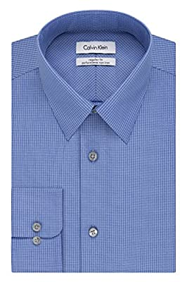 Calvin Klein Men's Regular-Fit Non-Iron Blue Ground Check Shirt
