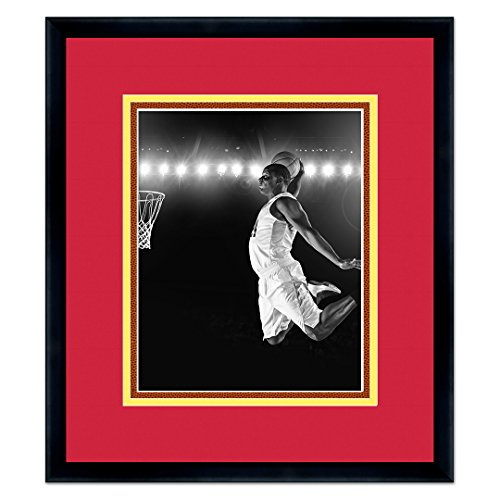 "Sports Frames Miami Heat Black Wood Picture Frame - Made to Display 8"" x 10"" Photos - Triple Mat with Basketball Texture"