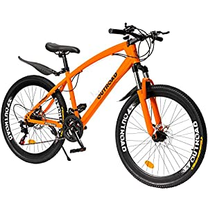 Max4out Mountain Bike 21 Speed Shimano Derailleur with High Carbon Steel Frame, 26 inches Wheels, Double Disc Brake, Front Suspension Anti-Slip Bikes