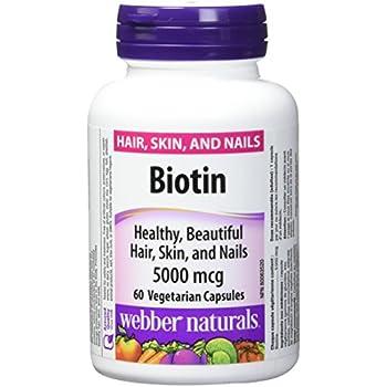 Webber Naturals Biotin 5000 mcg, 60 Vegetarian Capsules