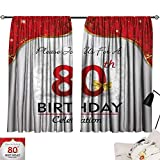 Jinguizi 80th Birthday Curtain Kids Birthday Party Invitation with Abstract Floral Backdrop Elderly Light Darkening Curtains Red Silver and Golden W55 x L39
