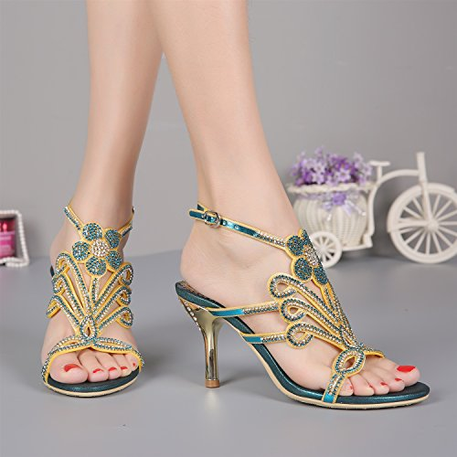 D Fashion Sandal Women Summer Sandals Big High Blue Club Rhinestone Spring Women Girls Ladies 2018 Gold New for Heel Party Sexy Sandals Red Beach pw6Bxg