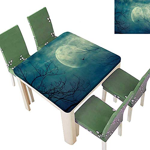 Printsonne Polyester Tablecloth Halloween Full Mo in and Dead Tree Branch Evil Haunted Blue Spillproof Tablecloth 52 x 52 Inch (Elastic Edge) -