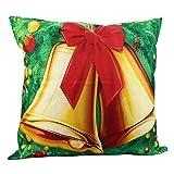 SUPPION Merry Christmas Print Pillow Case Linen Cotton Sofa Cushion Cover Home Decor (C)