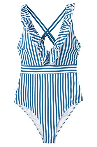 CUPSHE Women's Blue White Stripe Ruffled One Piece Swimsuit -