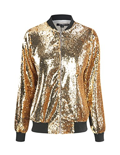 HaoDuoYi Womens Casual Lightweight Sequin Zipper Bomber Jacket (Small, Gold) (Jacket Holiday Womens)