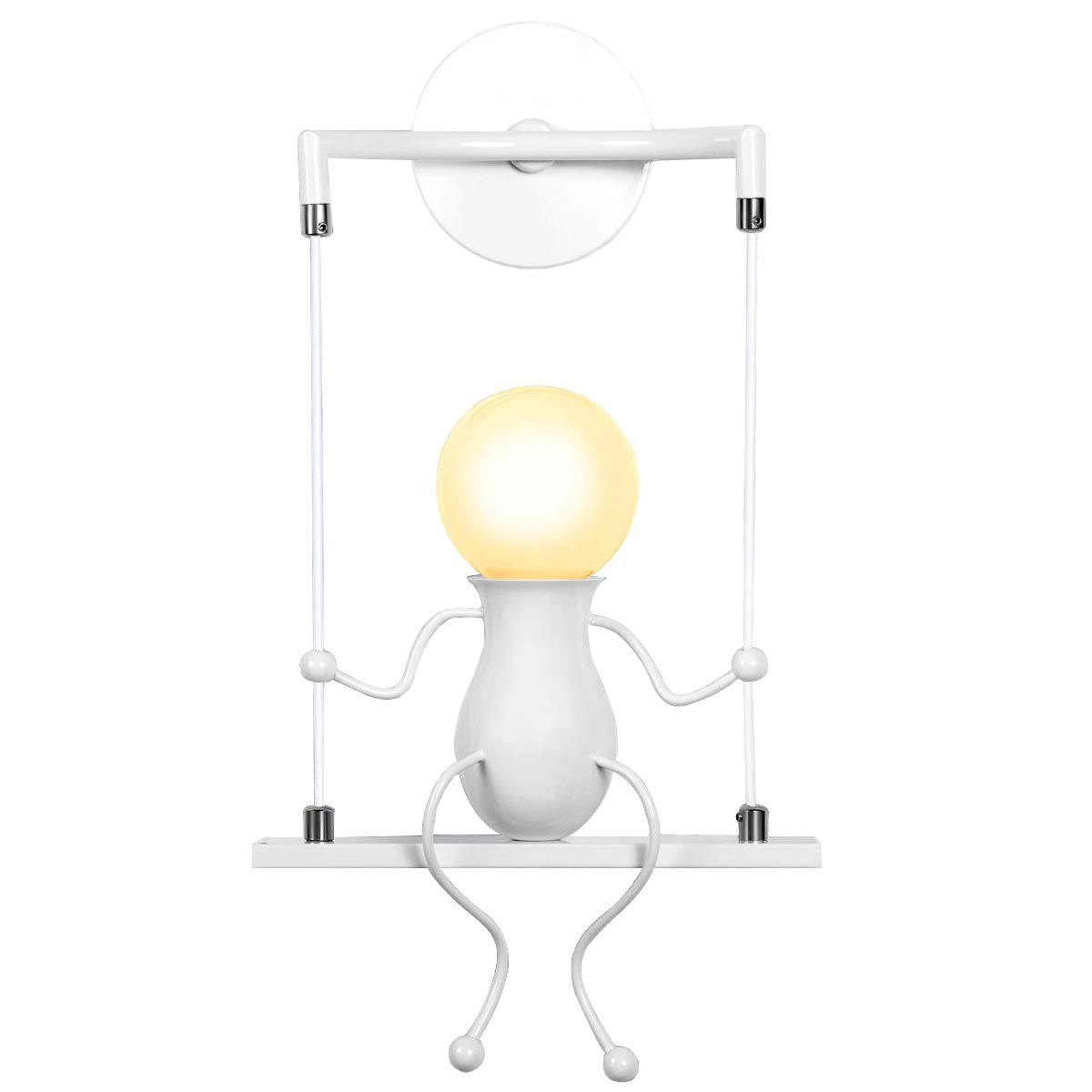 KAWELL Humanoid Creative Wall Light Modern Wall Lamp Simple Wall Sconce Art Deco Max 60W E27 Base Iron Holder for Children Room, Bedroom Bedside, Stairs, Hallway, Restaurant, Kitchen, Black [Energy Class A+]