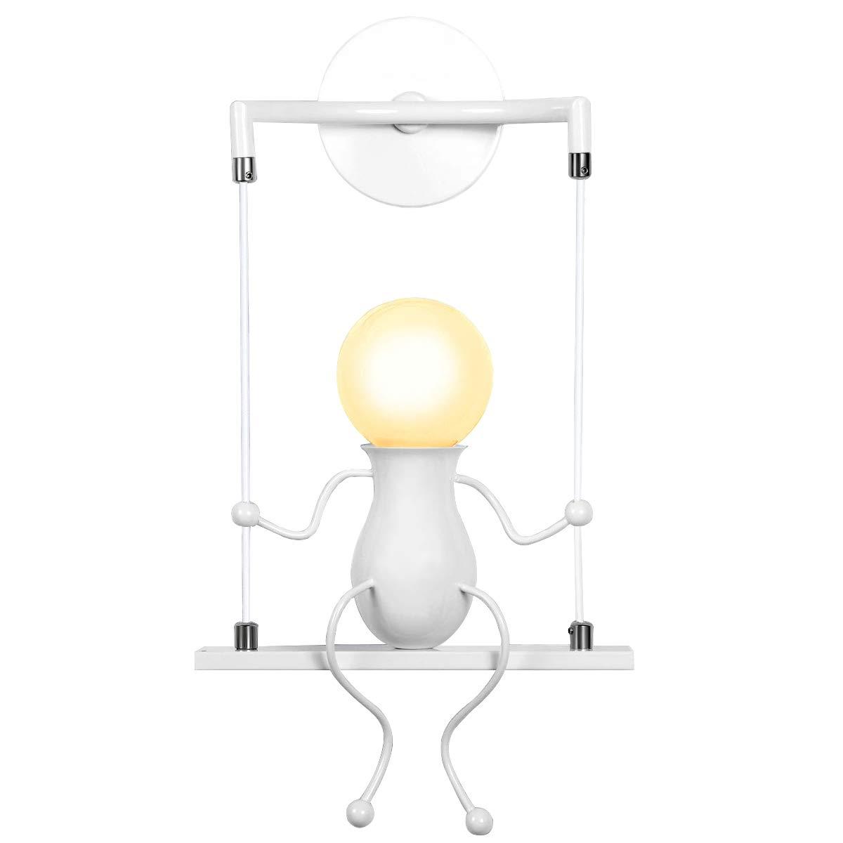 KAWELL Humanoïde Créatif Lampe Murale LED Moderne Applique Murale Simple LED Lampe de Mur Art Déco Max 60W E27 Base Fer Titulaire pour Chambre D'enfant, Chambre à Coucher Chevet, Escalier, Couloir, Restaurant, Cuisine, Swing Blanc x1 [Classe énergétique A+