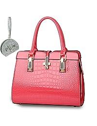 Micom New Fashion Designer Handbags Women Pu Leather Alligator Pattern Tote Bag with Micom Zipper Pouch