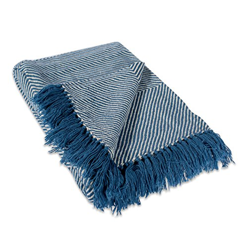 Home Essentials DII Chevron Luxury Throw for Indoor/Outdoor Use, Camping, BBQ's, Beaches, Everyday Blanket, 48x67, Blue by Home Essentials