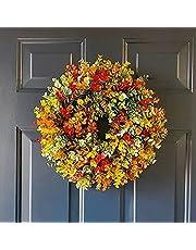 LEMOKIKI Herfst Krans Frame voor voordeur buiten, Fall Eucalyptus Farmhouse Krans, Hand Weven Eucalyptus Krans voor Voordeur, Thanksgivings Kerst Voordeur Opknoping Ornament