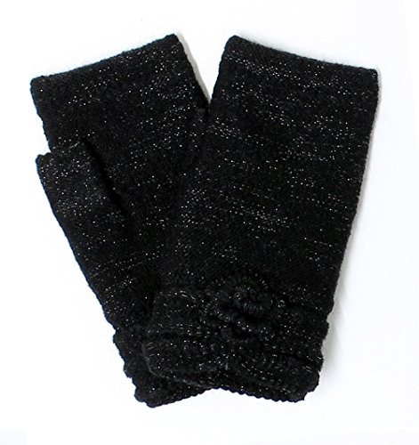 Ladies Sparkle Cuff Glove - LL- Womens Winter Knit Fingerless Fashion Gloves Fleece Lined Assorted Patterns and Colors (Black Shimmer)