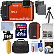 Nikon Coolpix W300 4K Wi-Fi Shock & Waterproof Digital Camera (Orange) + 64GB Card + Battery & Charger + Diving LED Video Light + Buoy + Cases + Tripod Kit