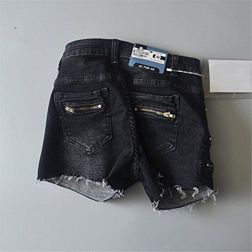 Nero Denim Pantaloncini Da Vita Elasticizzati In Alta Oudan Donna 8gqw1xq0