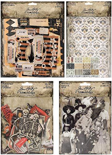 Tim Holtz 2018 Halloween Paperie - Box Tops, Worn Wallpaper, Ancestors Paper Dolls and Ephemera (Halloween Collage Sheet)