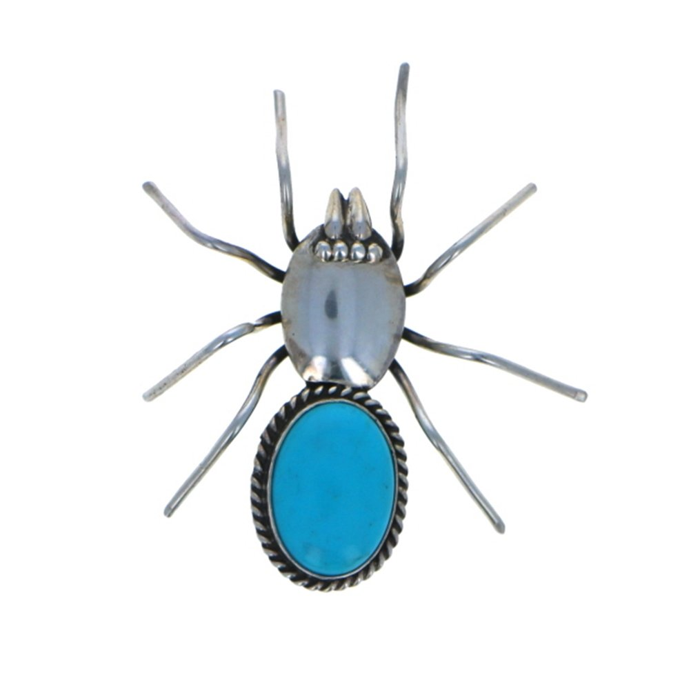 Sterling Silver 925 Campitos Turquoise Insect Pin Pin by Navajo Artistian Jewelry (Image #1)