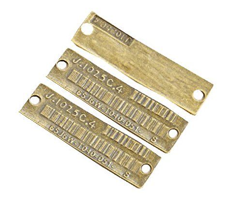 長方形メタルタグ* 3個入り つなぎパーツ コネクタープレート バーコード チャームにも、タグプレートにもの商品画像