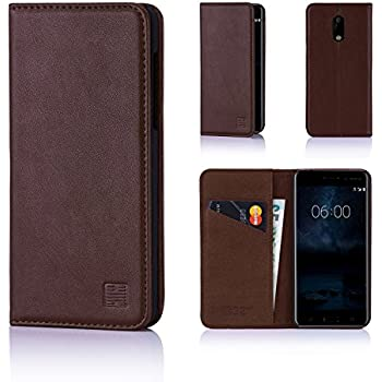 Nokia 6 Leather Wallet Case Designed by 32nd, Classic Design With Card Slot, Magnetic Closure and Built In Stand - Dark Brown