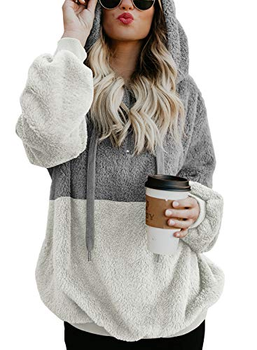 Dokotoo Womens Fleece Hoodies Plus Size Cozy Oversized Chunky Color Block Zip Front Winter Fuzzy Sweatshirt Loose Pullover Outerwear with Pockets XX-Large Grey White