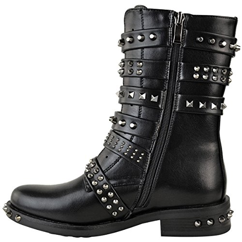 Biker Thirsty Ankle Western Ladies Boots Size Womens Stud Leather Shoes Black Fashion Faux Strappy Flat Buckle 8gdwqaq0