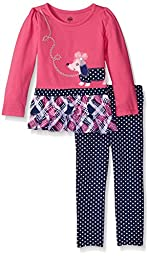 Kids Headquarters Little Girls\' Toddler Jersey with Printed Poplin Tunic with Leggings Set, Pink, 2T