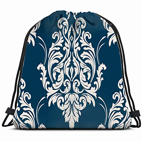 damask classical Drawstring Backpack Gym Sack Lightweight Bag Water Resistant Gym Backpack for Women&Men for Sports,Travelling,Hiking,Camping,Shopping Yoga