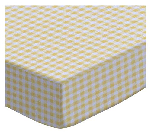 SheetWorld Extra Deep Fitted Portable Mini Crib Sheet - Primary Yellow Gingham Woven - Made In USA by SHEETWORLD.COM