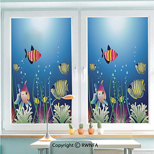 (RWNFA Removable Static Decorative Privacy Window Films Aquarium Seascape with Colorful Tropical Fishes Bubbles Seaweed Marine Theme Decorative for Glass (22.8In. by 35.4In),Blue Pink Green)