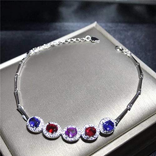 All Natural Multi Color Sapphire Bracelet, September Birthstone, Sterling Silver, 925 Silver
