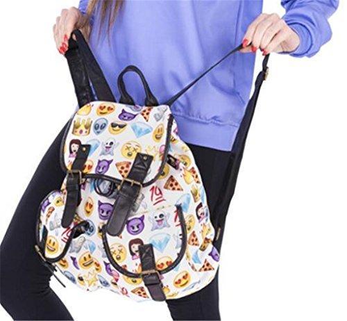 Great Strange Studenten doppelte Taschen-Rucksack Retro gedruckte weiße emoji Ausdruck Schule Kinder 36 * 32 * 15cm