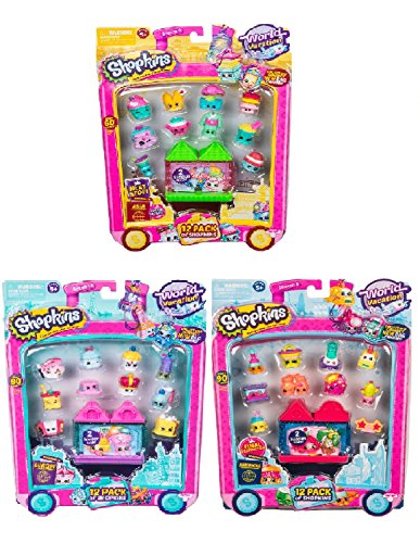 Shopkins Season 8 World Vacation 12 pack FULL SET Europe, Asia & America Wave 1,2 & 3 includes Blizzy flashlight key-chain