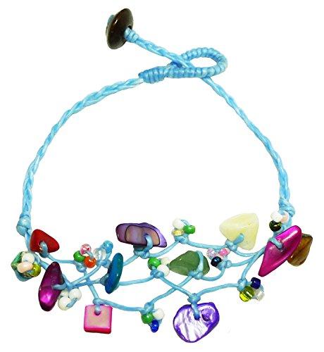 Bijoux De Ja Handmade Mixed Beads Sky-blue Anklet Bracelet 10 Inches (AkSPbu014)