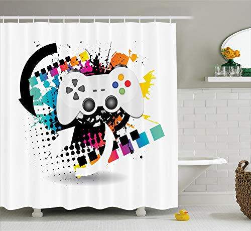 Lunarable Gamer Shower Curtain, Modern Console Game Controller with Halftone Motif and Color Splashes Background, Cloth Fabric Bathroom Decor Set with Hooks, 75