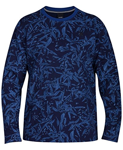 Hurley Coastal Mens Floral-Print Crewneck Sweater Blue 2XL