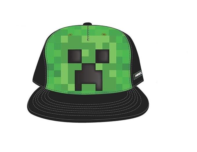 Amazon.com  Bioworld Minecraft Creeper Face Snapback Hat Cap Youth ... 83bda201db6e