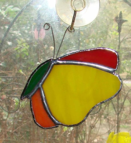 (Colorful Red Yellow Orange Stained Glass Butterfly Handmade Ornament or Sun Catcher )