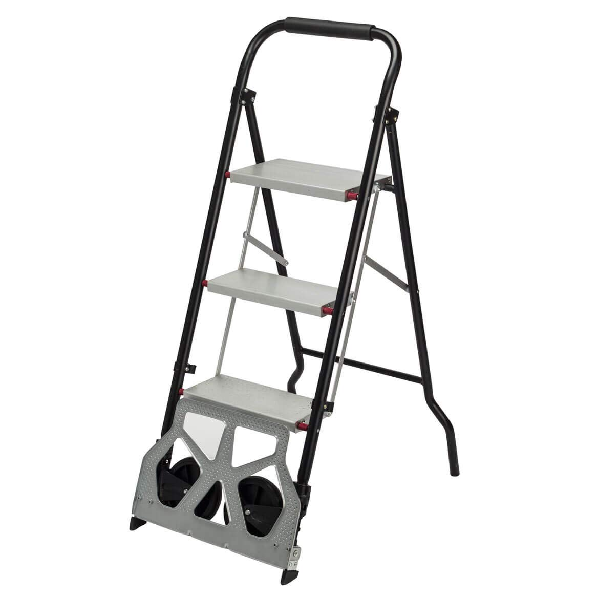 MS Home Rolling Step Ladder Dolly - Steel and Aluminum Supports up to 550 lbs; Folding Dolly Supports up to 175 lbs - 15 1/4'' W x 45 1/2'' H