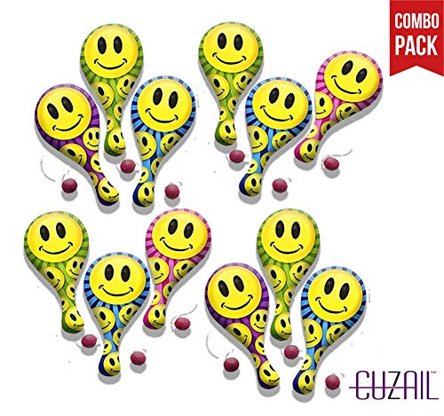 CUZAIL Party Favors - Party Supplies - Adults & Kids - Smiley Face Paddle Ball 9