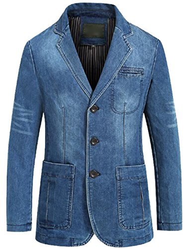 XQS Men's Leisure Loose Fit 3-Button Washed Denim Jeans B...