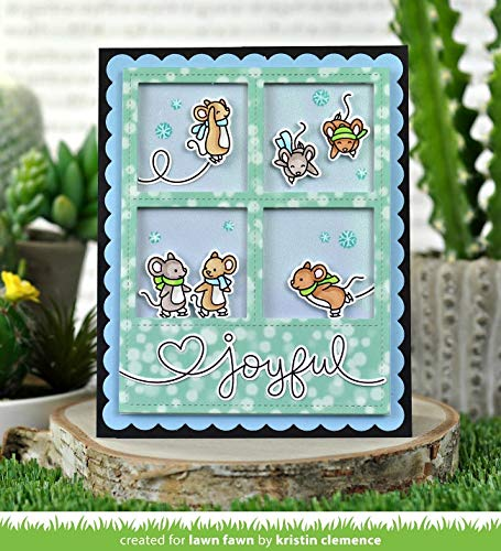 LF2031, LF2032 Lawn Fawn Mice on Ice Clear Stamps and Coordinating Dies Bundle of 2 Items