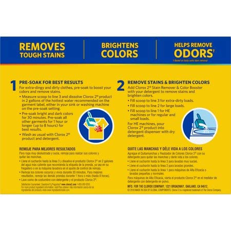 Clorox 2 Laundry Stain Remover and Color Booster Powder, 49.2 Ounces (Pack Of 5)