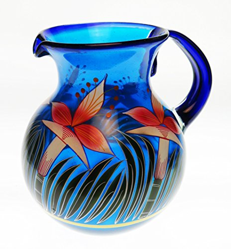 Mexican Glass Bola Pitcher, Hand Painted with Orchid ...