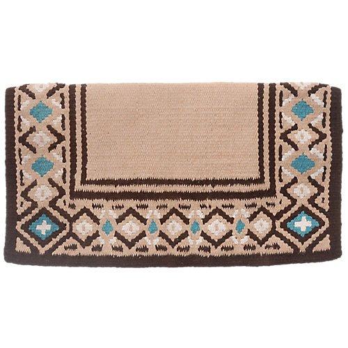 Tough 1 Diamond Wool Saddle Blanket, Tan/Brown/Turquoise