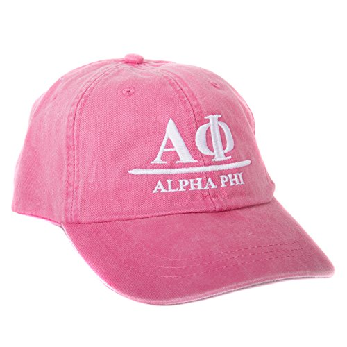 Alpha Phi (B) Sorority Embroidered Baseball Hat Cap Cursive Name Font A Phi (Hot Pink)