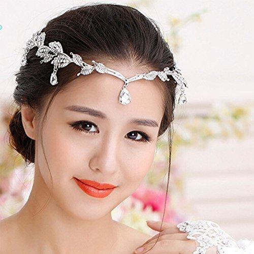 Women's Crystal Leaf Headpiece Rhinestone Tiara Princess Party (Silver)